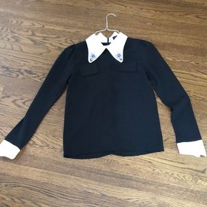 Black blouse with white jeweled collar size S